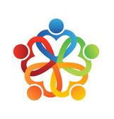 Vector Logo Team Interlaced hearts 5 — Stock Vector