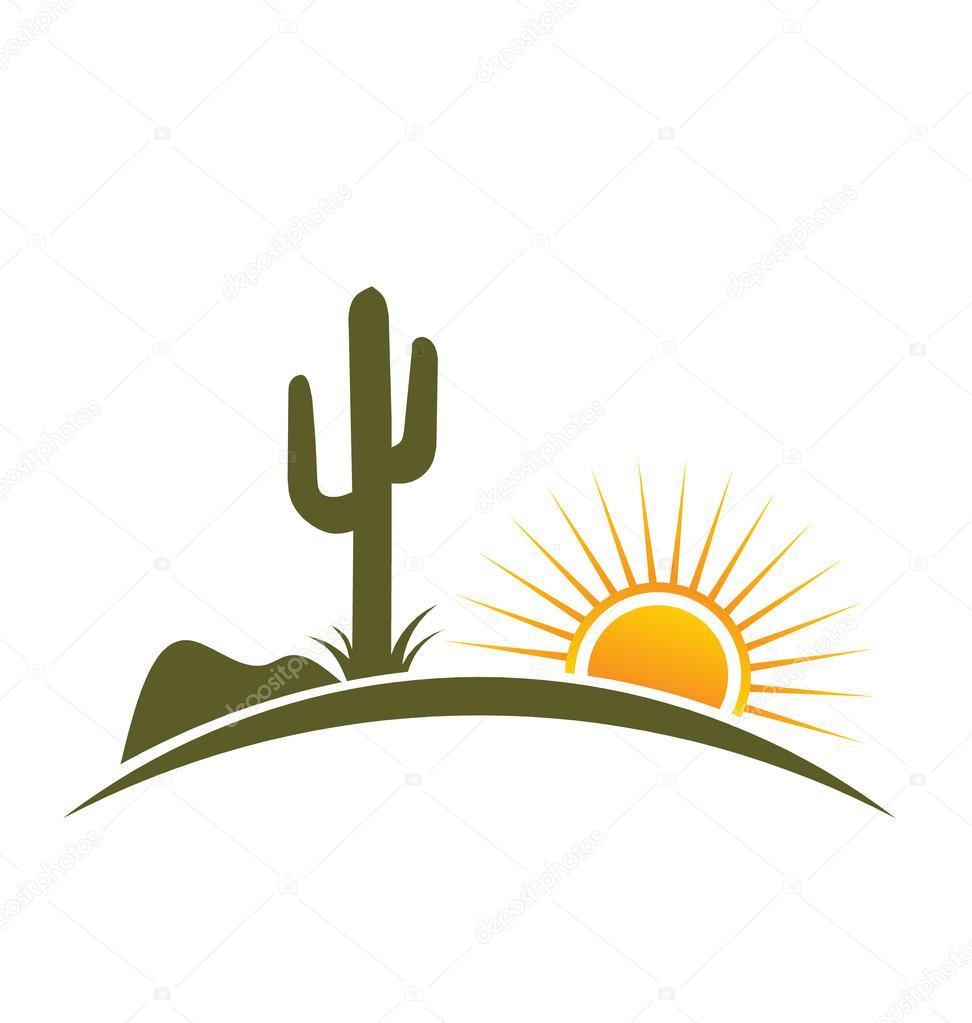 Logo Desert design elements with sun — Stock Vector ...