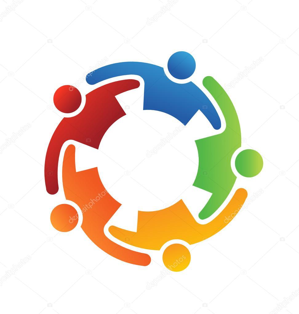 Vector Logo Teamwork Embrace 5 — Stock Vector © deskcube ...