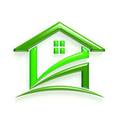 3D Glossy Logo Green House — Stock Photo