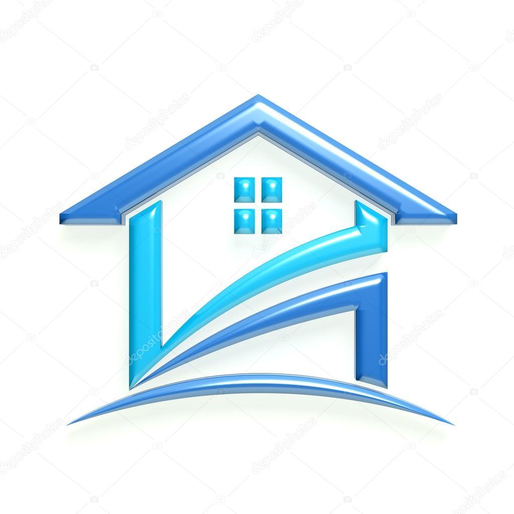 Glossy Logo Blue House Deskcube