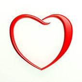 Red Heart Outlined in White Background — Stock Photo