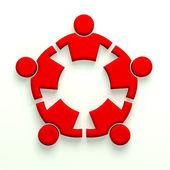Människor starkt 5 - 3d design - rött färgschema — Stockfoto