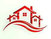 Red Logo Houses with waves — Stock Photo
