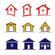 Vector set of 9 house icon family syle variations — Stock Vector