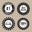 Collection of Premium Quality, Best Seller unique seal labels with retro vintage styled design — Stock Vector