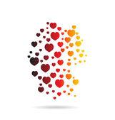 Germany Hearts Map image logo — Stok Vektör