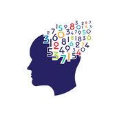 Concept of mathematical brain logo — Stock Vector