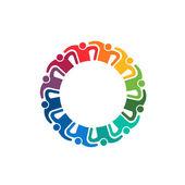Teamwork Hug 12 people image. Group of People logo — Stock Vector