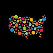 United States circles pop map logo — Stock Vector