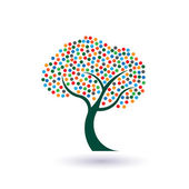 Multicolored circles tree image logo — Stock Vector