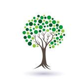 Green circles tree image logo design — Stock Vector