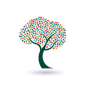 Multicolored circles tree image. Concept of fruitful and prosperous life logo — Stock Vector