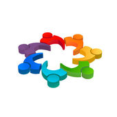 Team meeting 10 image. Concept of teamwork, executive reunion, directors. 3D Vector icon — Stock Vector