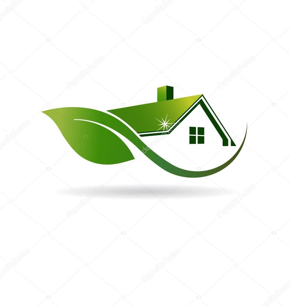 Logotipo de imagen limpieza casa natural u2014 Vector de stock ...