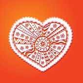Valentine's white Lace heart on the red background — Stock Vector
