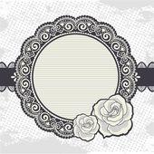 элегантные ретро кружева рамка с розами — Cтоковый вектор