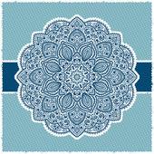 Azul indio marco ornamental — Vector de stock