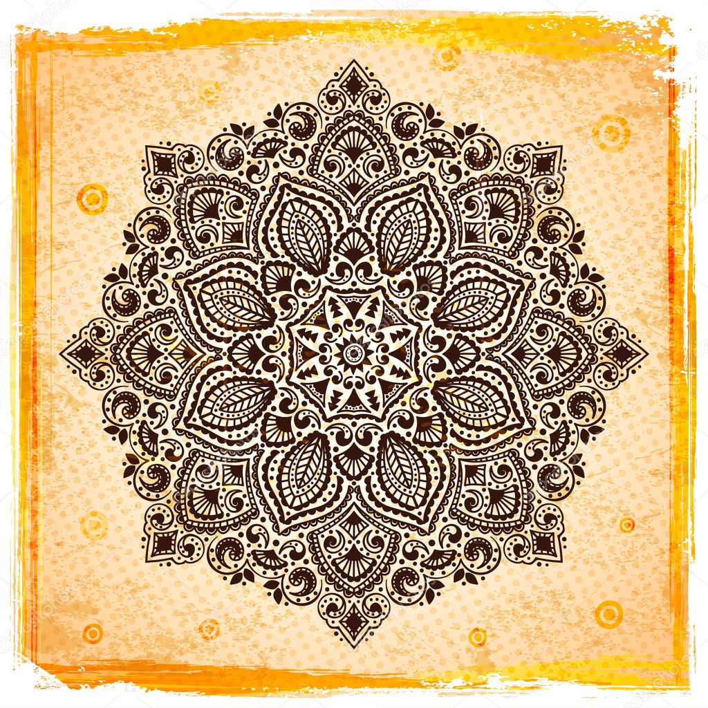 Beautiful Indian ornament with vintage background — Stock Vector #17404361