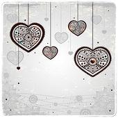 декоративные сердца на фоне винтаж — Cтоковый вектор