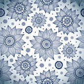 Blue sunflower pattern — Stock Vector
