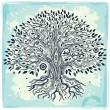 Beautiful vintage hand drawn tree of life - Векторная иллюстрация