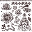Set of ornamental Indian elements and symbols - Stockvectorbeeld
