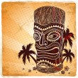 Vintage Aloha Tiki illustration — Stock Vector