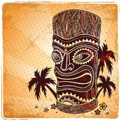 Vintage Aloha Tiki illustration — Stock Vector