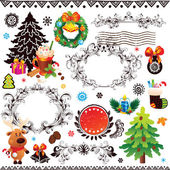 Christmas and New Year decoration set — Stock Vector