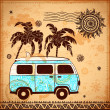 Retro Travel bus with vintage background — Imagen vectorial