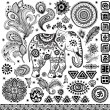 Tribal vintage ethnic pattern set — Stock Vector