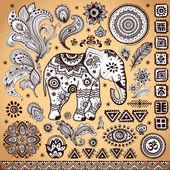 Tribal vintage ethnic pattern set — Stock Vector