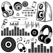 Stock Vector: Set of sketchy music symbols and icons