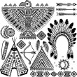 Stock Vector: Tribal native Americset of symbols