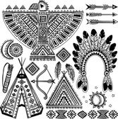 Tribal native American set of symbols — Stock Vector
