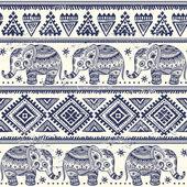 Ethnic elephant seamless — Stock Vector