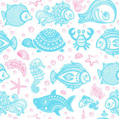 Vector set of fish and shells — Stockvector