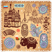 Vintage set of Russian icons — Stock Vector