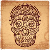 Vintage ethnic hand drawn human skull — Stock Vector