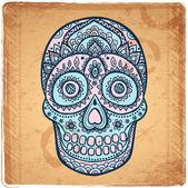 Vintage ethnic hand drawn human skull — Stock Vector