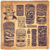 Vintage Aloha Tiki set — Vector de stock