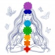 Girl with 7 chakras — Vector de stock  #41883523