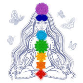 Girl with 7 chakras — Stock Vector