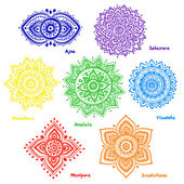 Set of 7 chakras — Stock Vector
