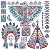 Vintage set of native American  symbols — Stock Vector