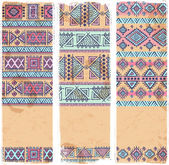 Vintage ethnic set of banners — Vecteur