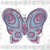 Vintage ethnic butterfly illustration — Stock Vector