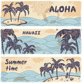 Vintage banners of the islands in the ocean — Stock Vector