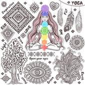 Satz von dekorativen indischen symbolen — Stockvektor